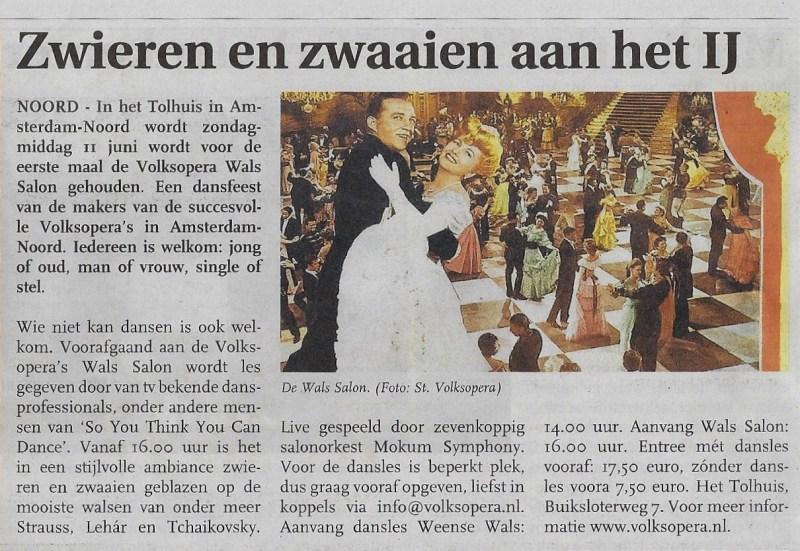 11 juni 2017 Volksopera's Wals Salon - Noord-Amsterdams Nieuwsblad - 31 mei