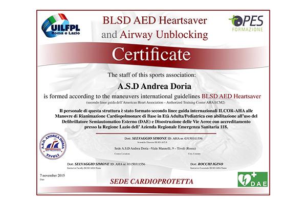 Certificazione Sede - BLSD