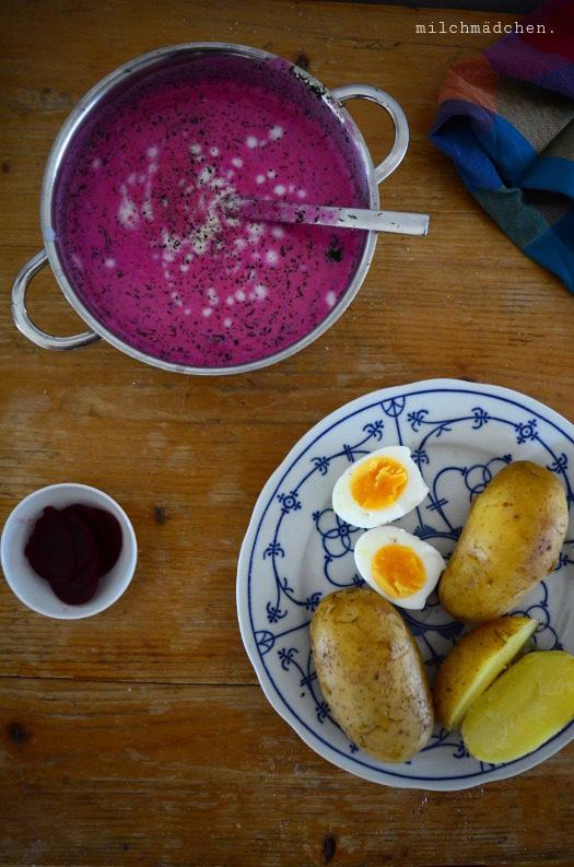 Kochen ohne kochen: Šaltibarščiai – Litauische Rote-Bete-Kaltschale mit Buttermilch, Kartoffeln, Ei und Dill