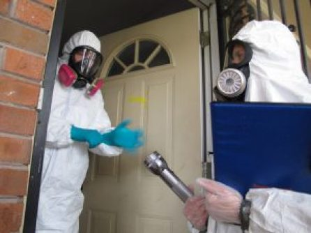 This image shows an Industrial Hygienist performing a Meth lab inspection.