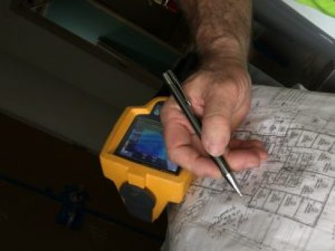 Working on notations of building water leaks using infrared thermal camera.