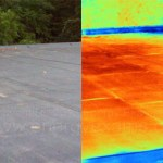 Side by side image of a rubber roof as viewed in normal vision and infrared thermal (on the right).