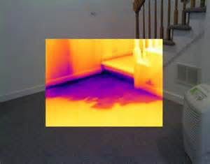 Volunteer Mold Knoxville image of water flooding under a basement stairwell.