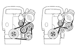 Volvo 850, S70, V70, C70  Auxiliary Serpentine Drive Belt Routing Diagram