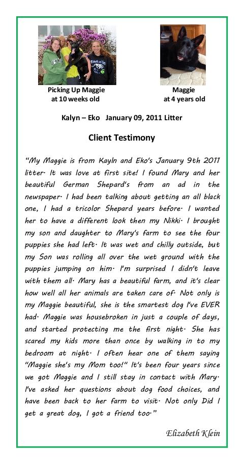 Elizabeth Klein Puppy Testimonial