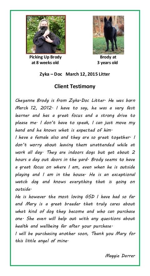 Maggie Darrer Puppy Testimonial
