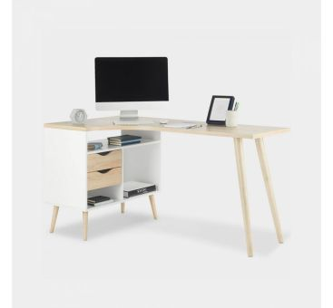 White & Oak Computer Desk Home Office