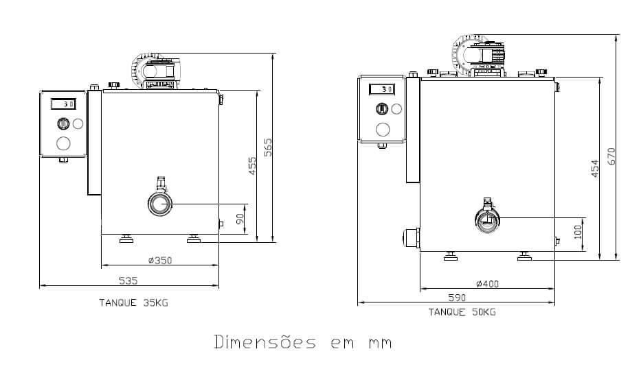 Desenho Técnico da Derretedeira de Chocolate TD-V