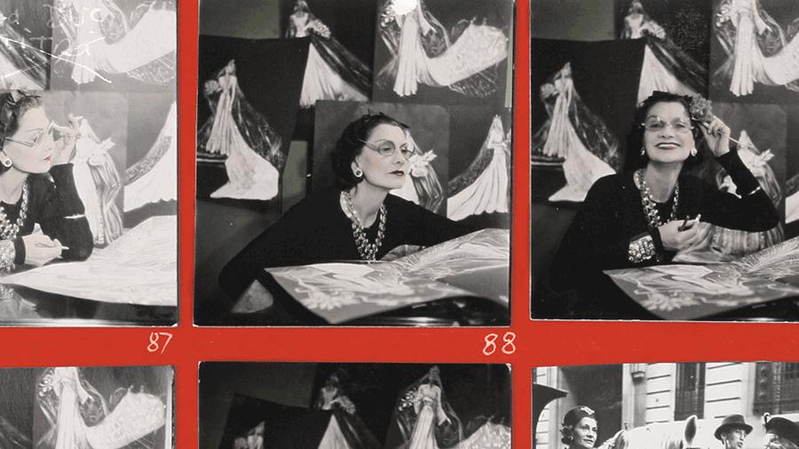 VONsociety: Gabrielle Chanel und das Kino, Fotoausschnitte zeigen Gabrielle Chanel bei der Arbeit