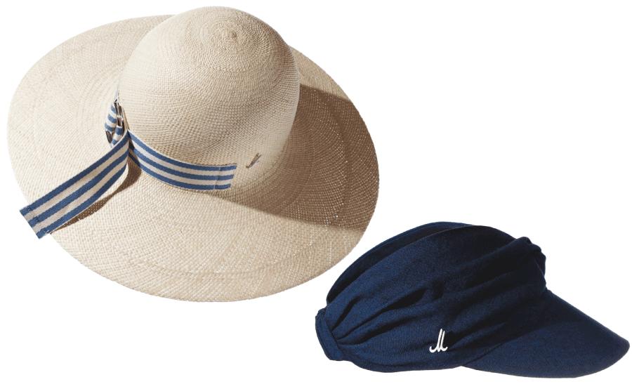 VONsociety: Produktbild von 2 Mühlbauer Hutmodellen: links breitkrempige Cloche in weiß aus Panamastroh mit blau-weiß gestreiftem Band. Rechts Sonnenschild Anush aus weichem japanischem Baumwoll-Leinenstoff in dunkelblau
