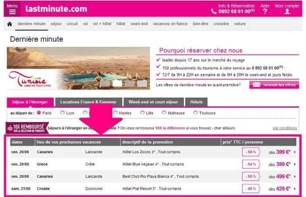 Offres Lastminute