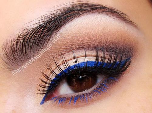 ojos cafés delineador azul