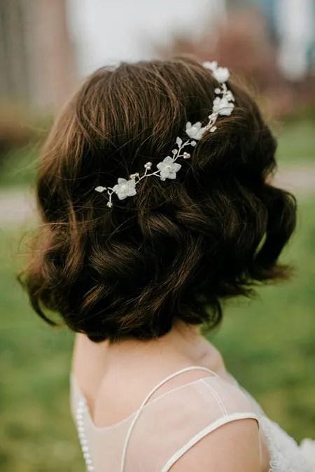 peinados novia cabello corto diadema