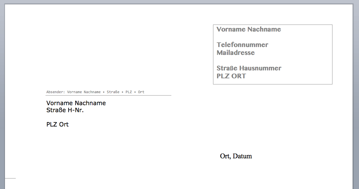 Vorlage Brief Für Fensterumschlag Din A4 : Briefkopf Vorlage Muster Briefkopf Selbst Erstellen Vorlagen Muster