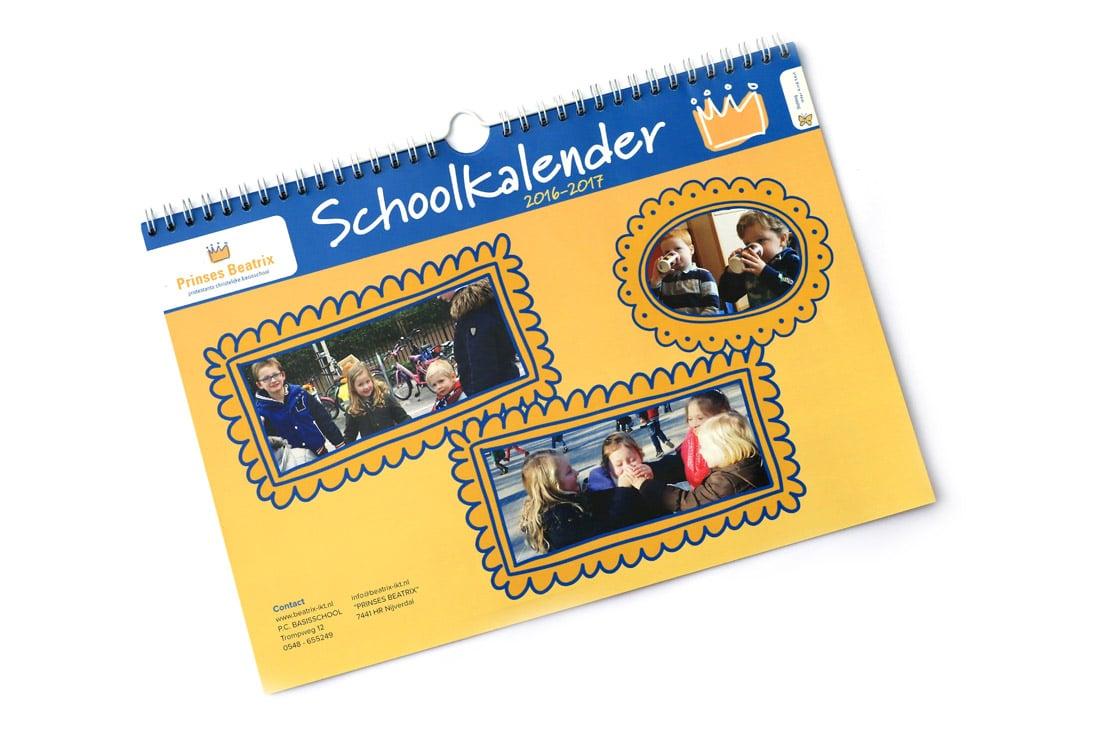 grafische vormgeving van een schoolkalender