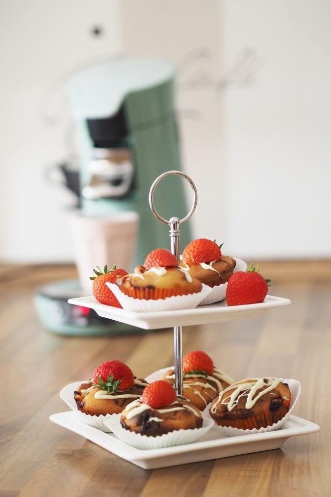 senseo viva cafe erdbeermuffis etagere erdbeermuffins