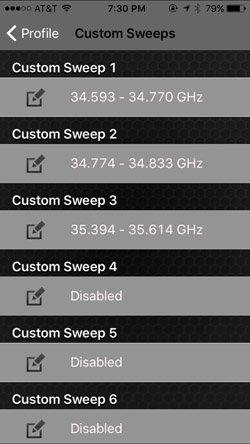 Custom Sweeps Settings