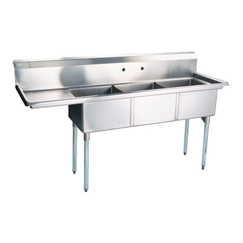 efi si818 3lc 18 x 18 x 11 center drain three compartment sink with left drain board