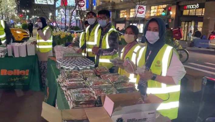 ICNA Relief weekly fresh food distribution in Manhattan area of NYC.