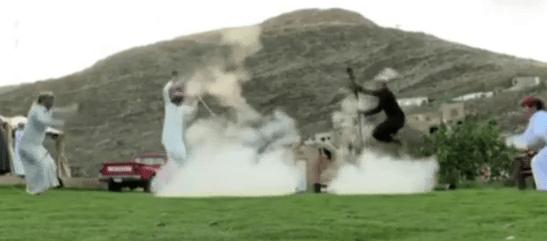 Saudi Traditional dance with gunfire kicks off in Riyadh suburbs.