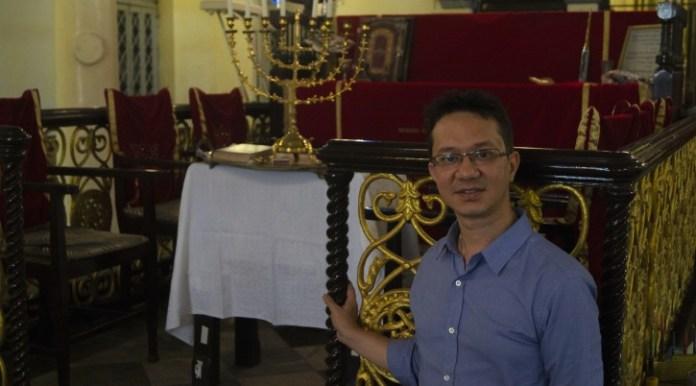 Sammy Samuels, the de facto leader of Myanmar's remaining Jewish community, inside Yangon's synagogue. (Charles Dunst)