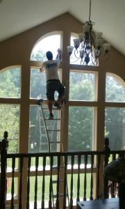 interior window cleaning ladder work