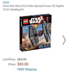 Image of the new Lego Star Wars First Order Special Forces TIE fighter for sale at Amazon for $69.