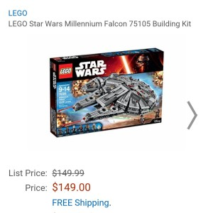 Image of the new Lego Star Wars Millennium Falcon lego set available from Amazon for $149.