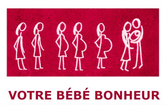 Comment l'amour grandit, bandeau rose qui montre une femme dans son evolution de ventre qui grossit  et le couple berce leur bébé bonheur
