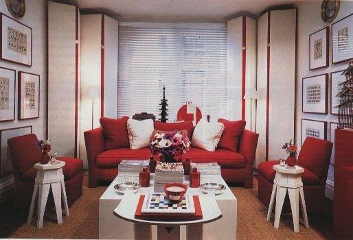 Deco Salon Rouge Blanc Marron