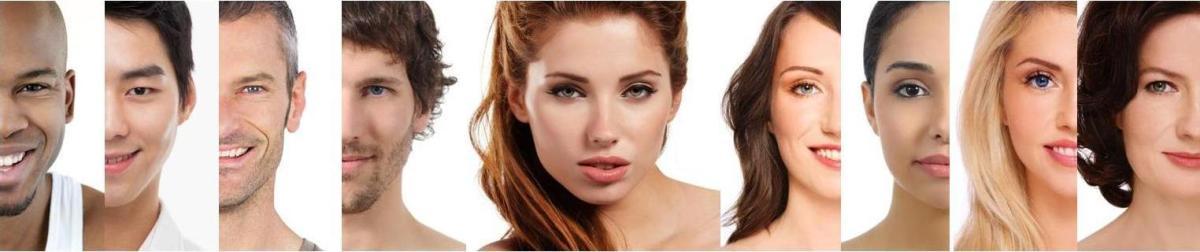 moitiés de visage d'hommes et de femmes à la suite
