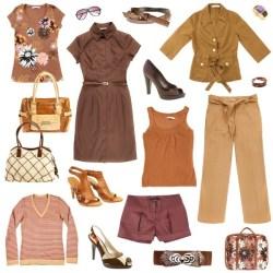 planche de style vestimentaire femme dans les tons beige bordeaux marron