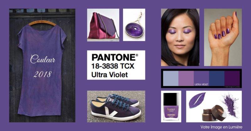 Mode et cosmétiques aux couleurs d'Ultra violet, couleur Pantone de l'année 2018
