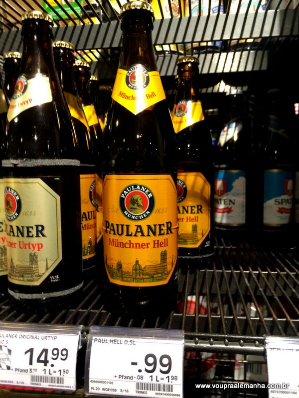 Paulaner Müncher Hell (e variações) 500 ml: € 0,99