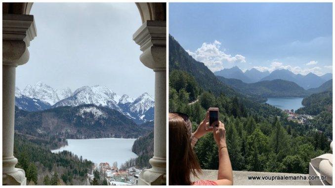 Panorama da varanda do Castelo Neuschwanstein no inverno (com o lago Alpsee congelado) e no verão, com os Alpes ao fundo. Durante o inverno e quando há neve, a varanda costuma ficar com acesso impedido. Mas há um vidro na porta que permite o registro fotográfico.