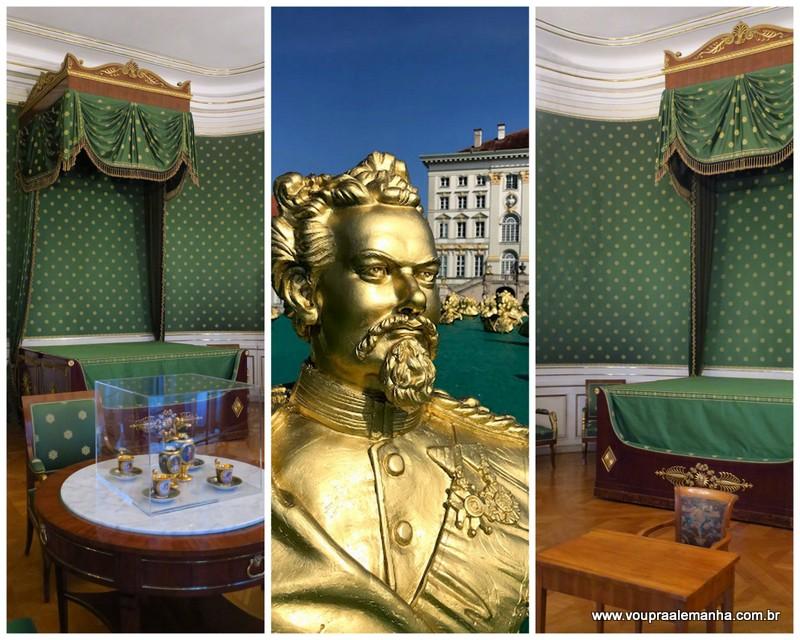 O quarto decorado em verde, onde nasceu o Rei Luís II da Baviera