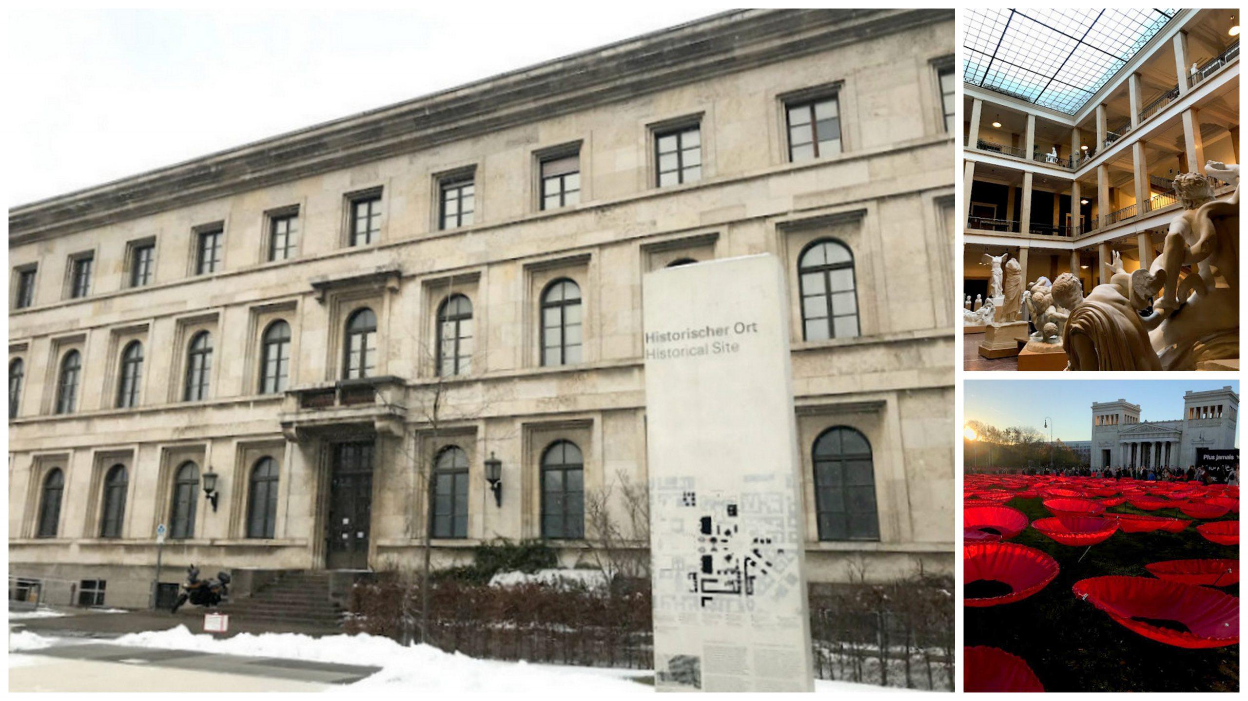 Prédios localizados nas imediações da Königsplatz, onde ficava o quartel general do nazismo em Munique