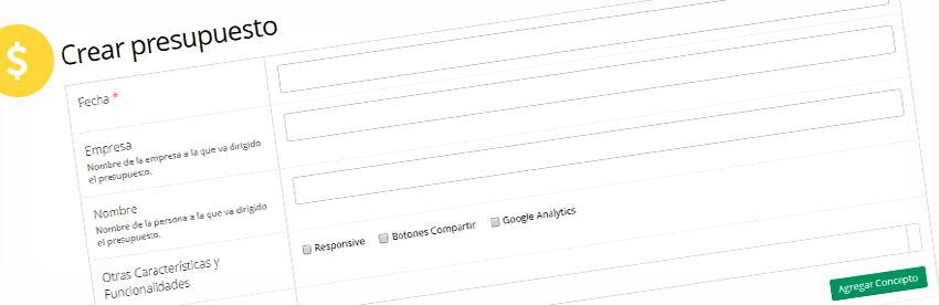 sitema de presupuestos para diseño web