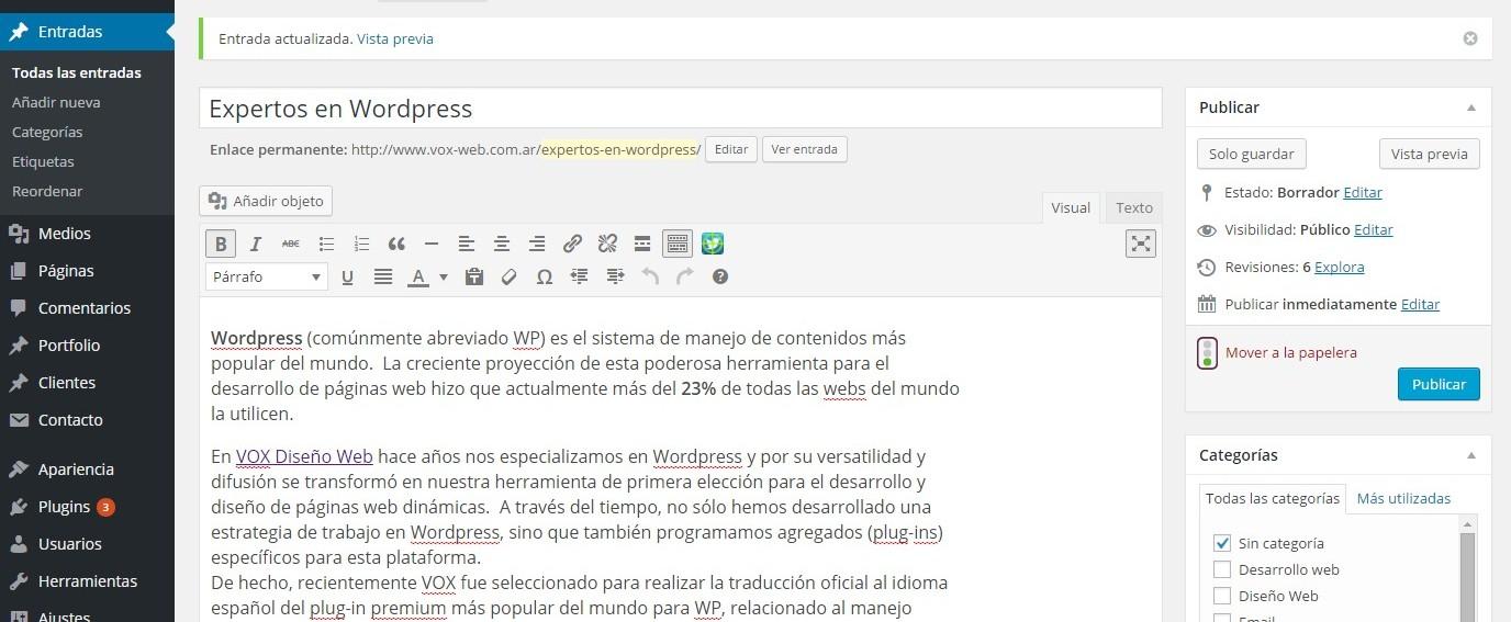 escritorio de wordpress