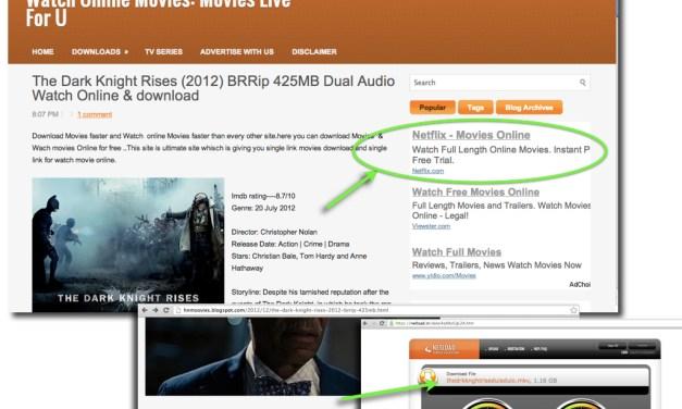 Netflix Ads + Google Blogspot + Stolen Movies = Piracy Profits