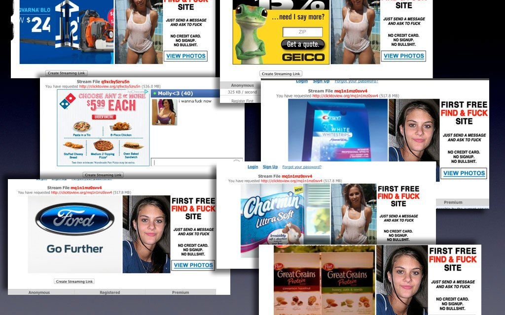 "Do these companies really want their products promoted aside ""Free Find and F**k"" ads?"