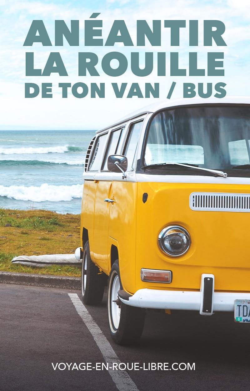 Comment anéantir la rouille de son van, bus ou fourgon aménagé ?  Tu viens peut-être d'acheter un van tout beau, tout rouillé ! Ou alors, tout comme nous, tu es l'heureux propriétaire d'un bus scolaire au Québec. :)  Et tu t'aperçois que tu vas devoir livrer une bataille sans merci contre la ROUILLE !  Dans cet article, on te donne toute les clés pour que tu puisses passer cette étape rapidement et facilement dans ta conversion :)  #skoolie #fourgonamenage #vanlife #van #rouille