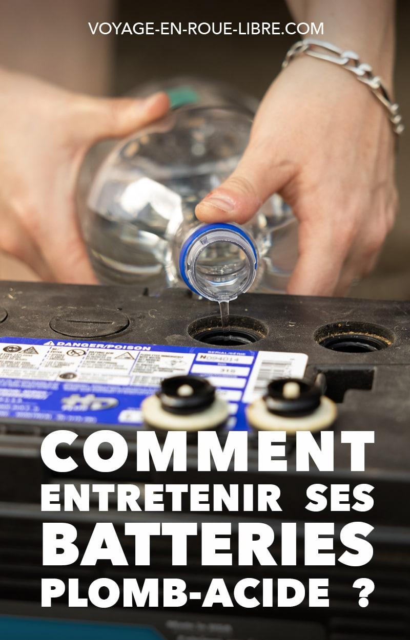 Si tu viens d'acheter un véhicule et que tu n'y connais absolument rien en batteries, en modèle de batteries et en entretien de batteries, c'est le moment d'en savoir plus sur le sujet.  Car détecter une batterie en perte de vitesse va te permettre d'éviter les galères.  Cet article te dit tout sur l'entretien des batteries marine, à décharge profonde ou encore plomb-acide !  #vanlife #conversion #batteries #chargerbatteries #diy #vanconversion #skoolie #conversion #van