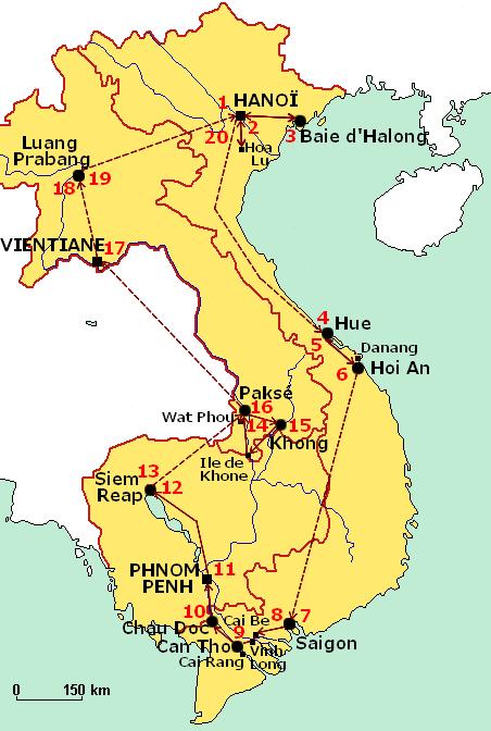 Les plus beaux sites Vietnam cambodge laos - Carte
