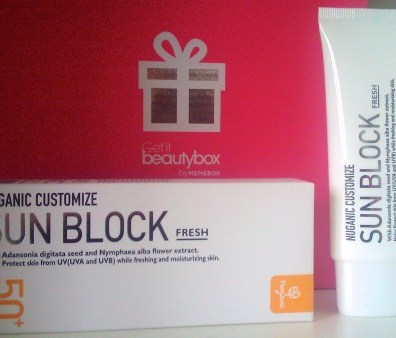 Sun Block crème solaire Nuganic customize spf 50 memebox beautybox coréenne asiatique voyage en beauté