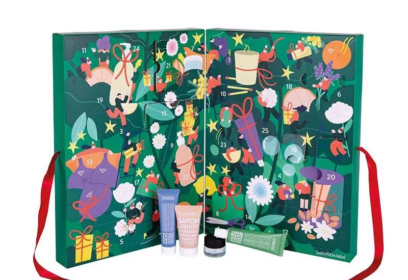 Calendrier de l'Avent Compagnie de Provence 2021 : bougies + cosmétiques parfumés spoiler, contenu, code promo, unboxing