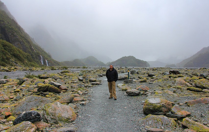 Helicopter-Grounding Mist, Franz Josef Glacier, South Island, New Zealand - Taken by Diann Corbett, 09/2014.