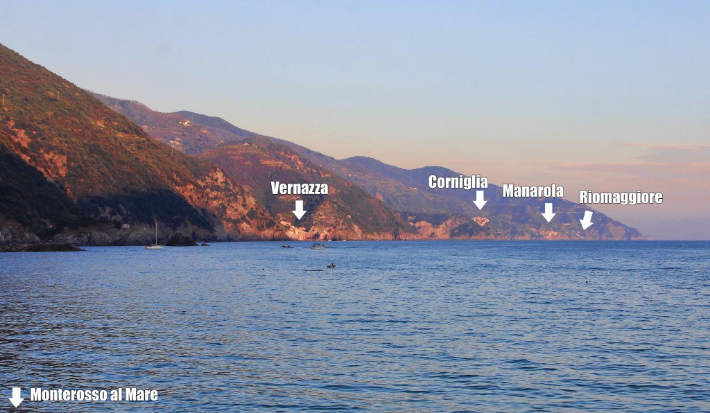 The Five Cities of the Cinque Terre as seen from Monterosso al Mare, Taken by Diann Corbett, 09/2015.