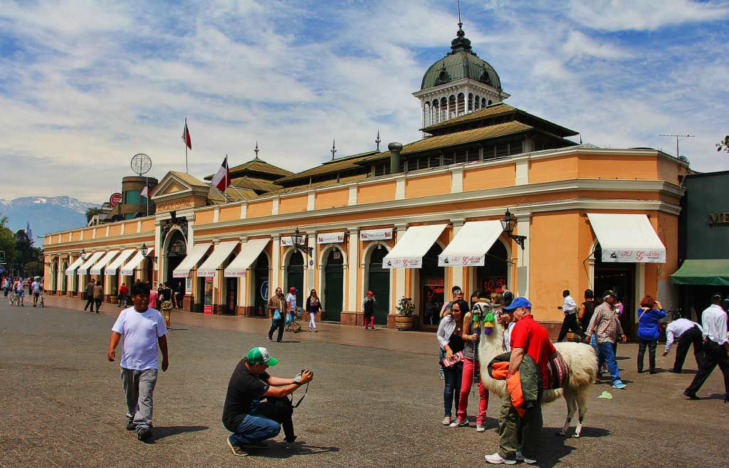 Mercado Central in Santiago, Chile with Llama Photo Opp, 10/2014, taken by Diann Corbett.