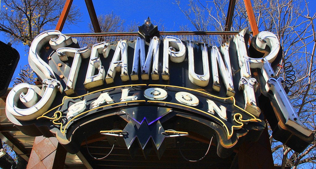 Steampunk Club Sign, Austin, TX - taken by Diann Corbett, 12/2015.